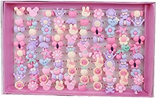 ZLY Children Kids Little Girl Adjustable Jewelry Rings in Box, Random Shape and Color, Girl Pretend Play and Dress up Rings large pink-100pcs 2019TOOL45