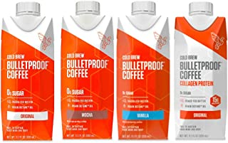 Bulletproof Cold Brew Coffee, Keto Friendly, Sugar Free, with Brain Octane oil and Grass-fed Butter (Variety 4-pack)