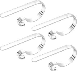 URATOT 4 Pieces Christmas Stocking Holder Hooks Metal Hooks Christmas Stocking Clips Stocking Hanger Hooks, Silver