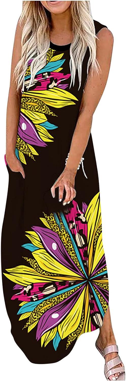 Summer Dresses for Women Casual Tank Dress Butterfly Graphic Maxi Dress O Neck Long Skirt Sleeveless Pocket Sundress