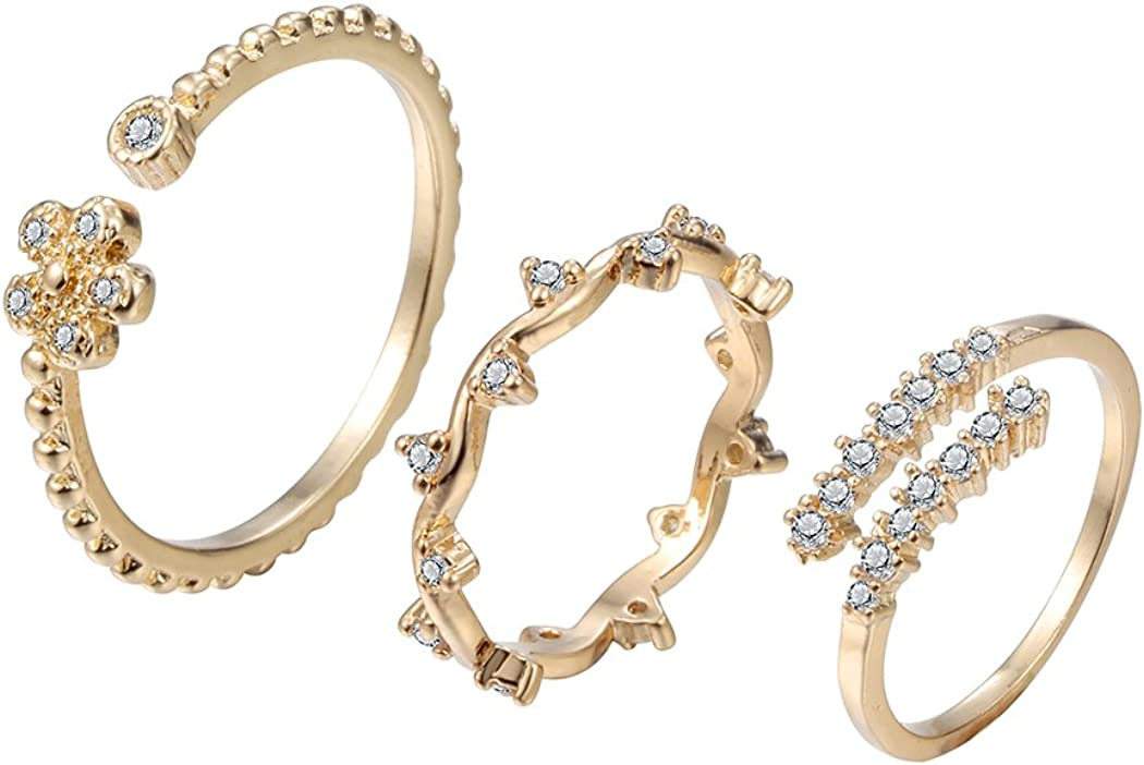 Chengxun Stacking Rings Gold Wire Knot Knuckle Rings Toe Ring 3 Pcs Crystal Rhinestone Engraved