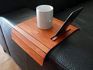 Mini tavolino laterale da bracciolo divano in legno con supporto smartphone e tablet personalizzabile ciliegio Piccolo vas...