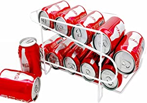 Povinmos Soda Can Rack Beverage Dispenser, Can Organizer Holds up to 10 Cans for Refrigerator, Kitchen Cabinet or Pantry-Dispenser 10 Standard Size 12oz Soda Cans or Canned food