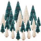 LOVEXIU Mini Weihnachtsbaum Deko,24 StüCk Miniatur Weihnachtsbaum KüNstlicher,Winter Ornamente Mini Modell Weihnachtsbaum Mini Tannenbaum füR Weihnachtsfeier Tischdeko,DIY,Schaufenster (GrüN/Weiss)