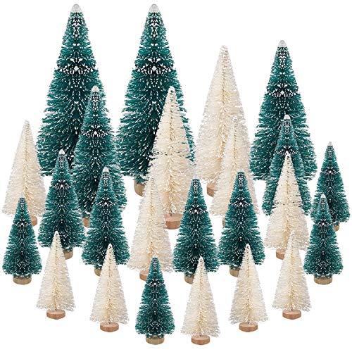 24 Piezas Mini Árbol de Navidad,DecoracióN NavideñA,Abeto Artificial áRbol de Nieve,Escritorio Navidad Árbol de para DecoracióN Del Hogar Pino Sisal Fiesta De Navidad Regalos para NiñOs Micro Paisaje