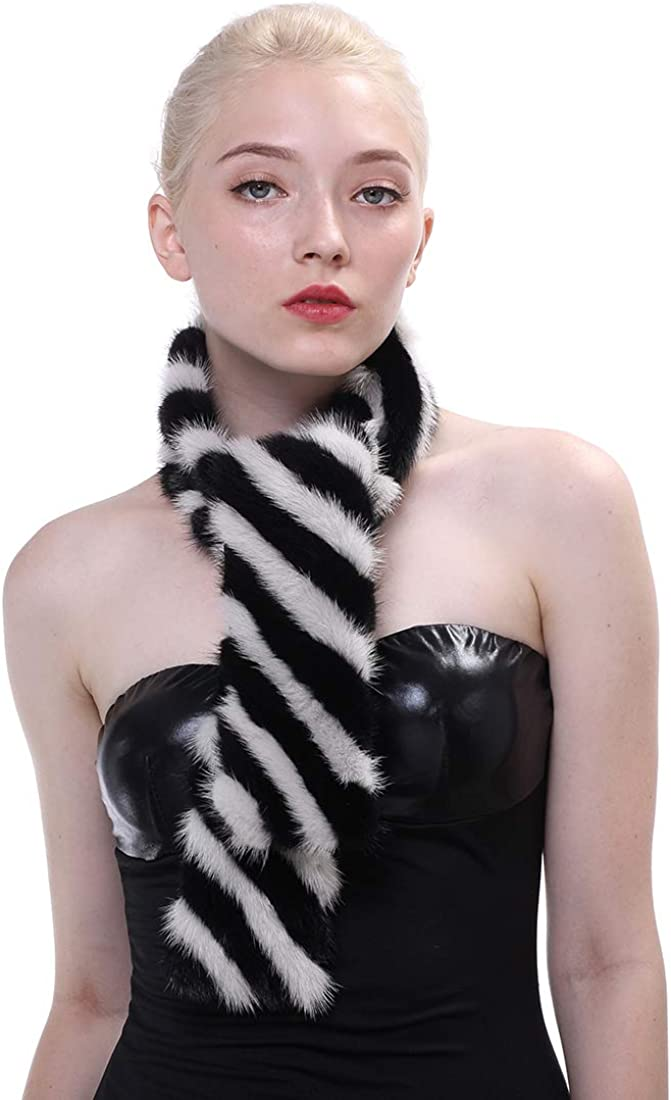 Sale special price URSFUR Women Spring new work one after another Fur Striped Scarf Wrap Winter Mink Real