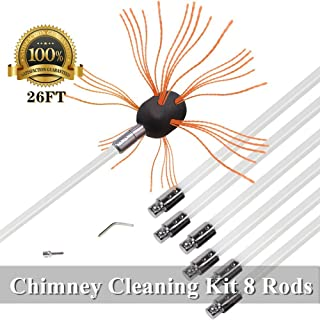 26ft Chimney Brush Electrical Drill Drive Sweeping Cleaning Tool Kits with Nylon Flexible Rods (8 rods)