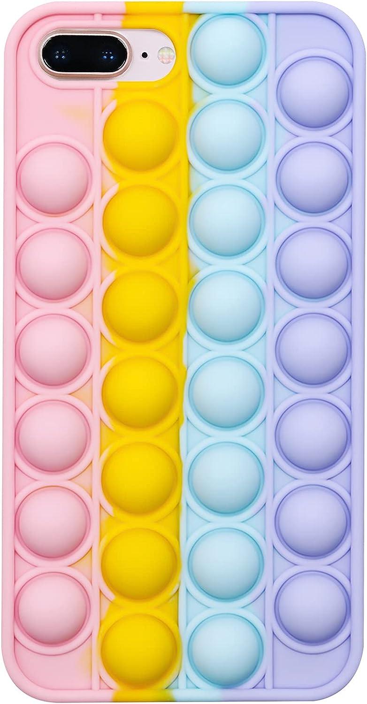 EVERMARKET Push Pop Bubble Fidget Sensory Toy Case for iPhone 7 Plus/ 8 Plus, Rainbow Color Push Pop Bubble Silicone Case for iPhone 7 Puls/ 8Plus, Silicone Drop Protection Case 5.5 Inch