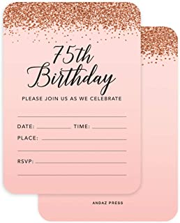 Andaz Press Blush Pink and Rose Gold Glitter Elegant Party Collection, 5x7-inch Invitations with Envelopes, 75th Birthday, 24-Pack, Double Sided Printing, Heavy Card Stock, Includes Envelopes