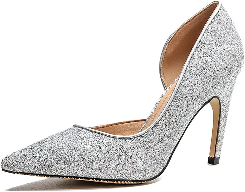 TUYPSHOES Women Kitten Heel Pointed Heel Silver Sequins High Heel Work shoes Party Wedding shoes
