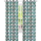 YUAZHOQI Cortinas opacas para dormitorio Argyle geométricas Zig Zag diseño impermeable cortina de ventana 132 x 241 cm (2 paneles)