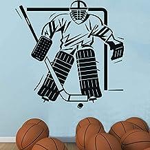 Deportes Niños Dormitorio Hockey Sobre Hielo Portero Etiqueta De La Pared Arte Vinilo Extraíble Decoración Para El Hogar E...