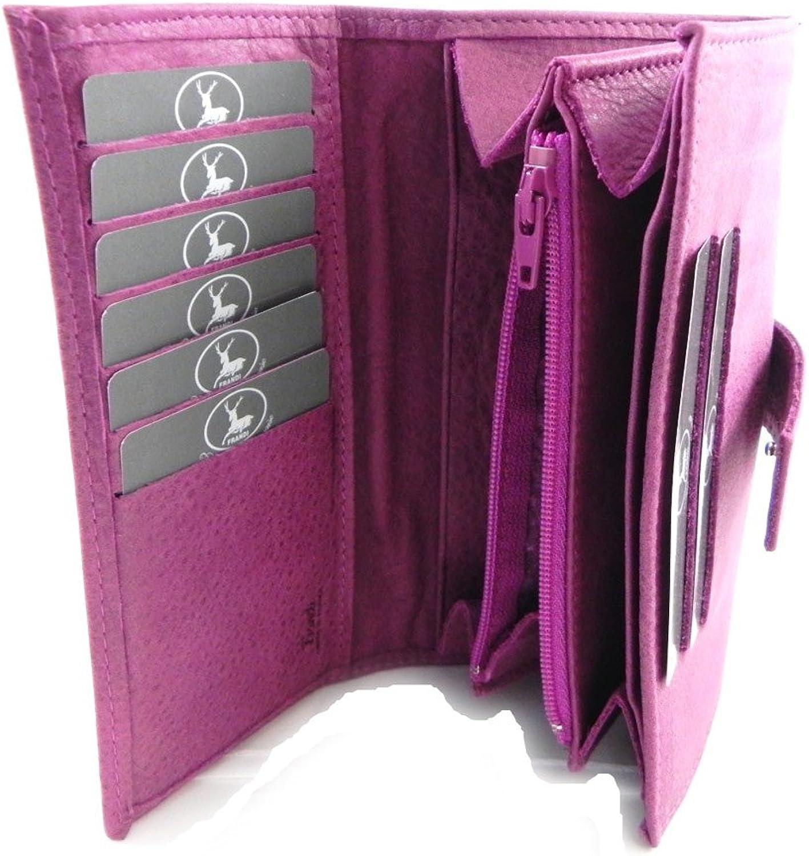 Large leather wallet 'Frandi' purple nubuck.