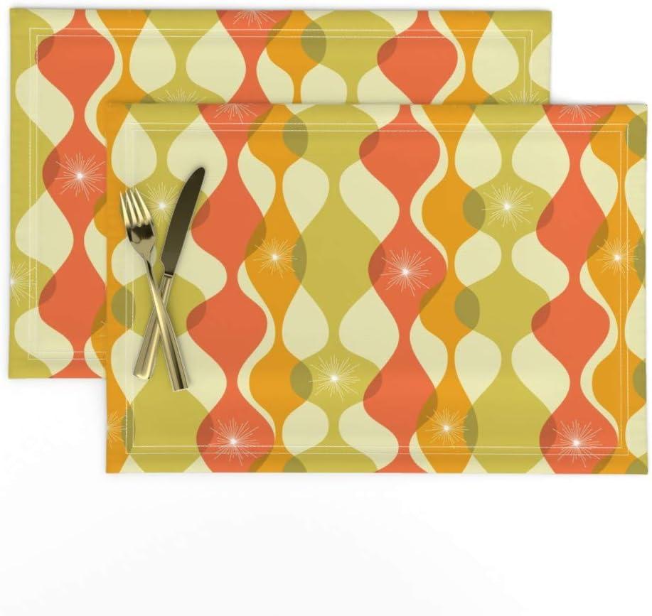 Cloth Placemats Retro Mid Century Mod Geometric Vintage 1950S Set of 2