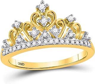 10k Yellow Gold Womens Round Diamond Tiara Crown Band Ring 1/5 Cttw