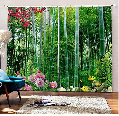 MUXIAND groene bamboe gordijnen op maat verduistering 3D venster gordijnen voor woonkamer verduistering gordijn