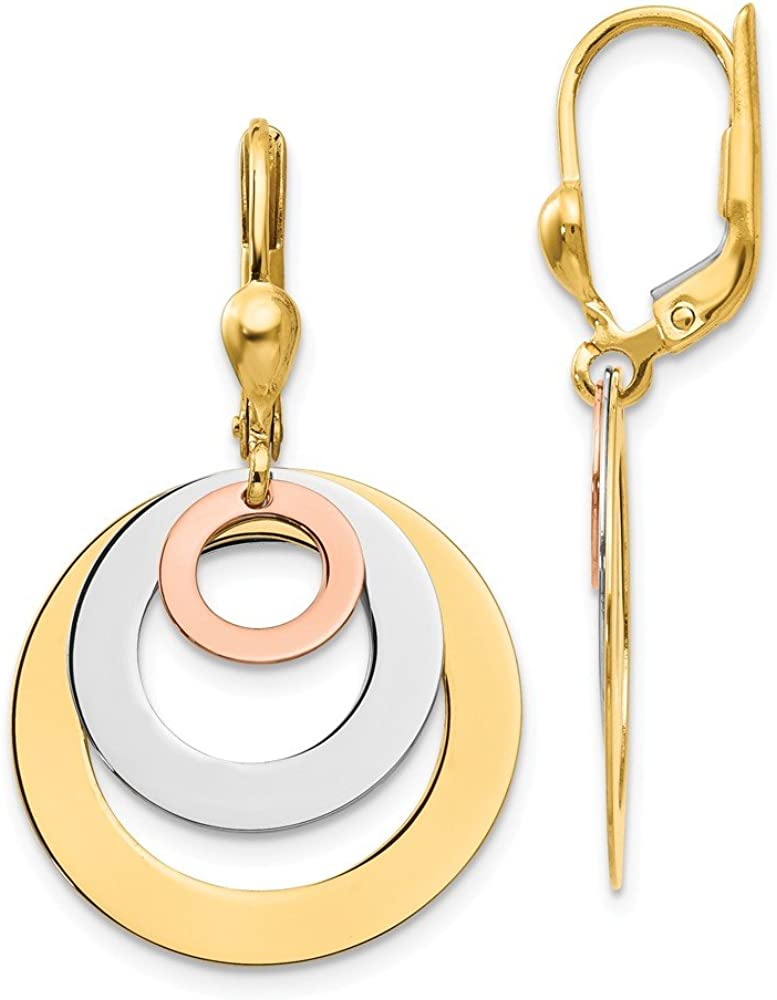 14k Tri Color Yellow White Gold Circle Leverback Drop Dangle Chandelier Earrings Lever Back Fine Jewelry For Women Gifts For Her