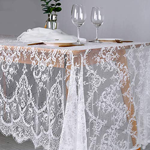 B-COOL 60'x120' Classic White Lace Tablecloths for Weddings Rose Vintage Embroidered Lace Table Runner Overlay for Baby Bridal Shower Decor