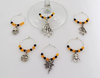 Halloween Wine Glass Charms with Orange and Black Beads - 6 Piece Cocktail Drink Charm Set in Black Velour Gift Pouch