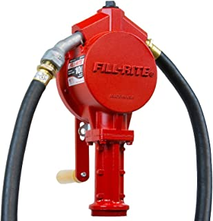 Fill-Rite FR112 Rotary Vane Hand Pump with Discharge Hose, Nozzle Spout, and Suction Pipe