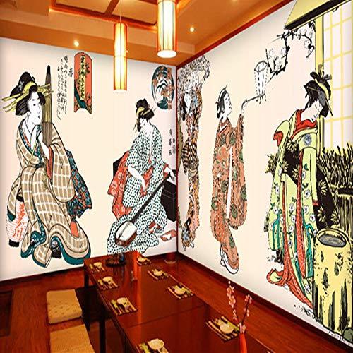 Leekkoka Mural Wallpaper Japanse Stijl Vrouw Behang Japanse Voedsel Hot Pot Restaurant Sushi Doos Behang Snack Bar Commerciële Grote muurschildering 400cm*280cm(H)