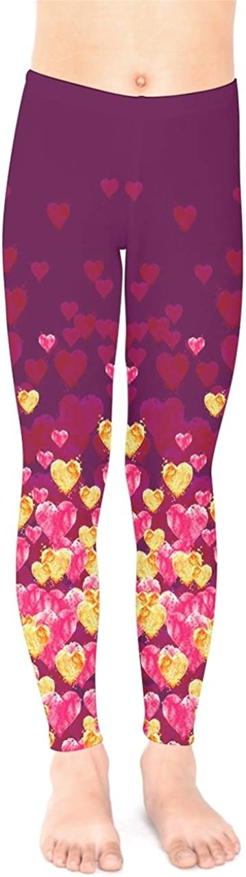 PattyCandy Girls Happy Valentine's Day Flowing Hearts Design Stretchy Toddler Kids Cute Leggings Size 2-16