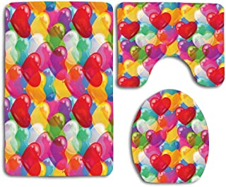 Huayuanhurug Heart Shaped Balloons Colorful Cheerful Birthday Carnival Happy Image 3pcs Set Rugs Toilet Seat Cover Bath Mat Lid Cover Cushions Pads
