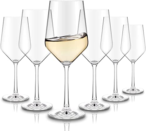 high quality CREATIVELAND new arrival Crystal discount White Wine Glasses Set of 6- Wine Glasses, LEAD-FREE CRYSTAL, Brilliant clarity, Thin Rim, Stemware, Italian Style Glasses, white wine glasses set 13.7oz/390ML online