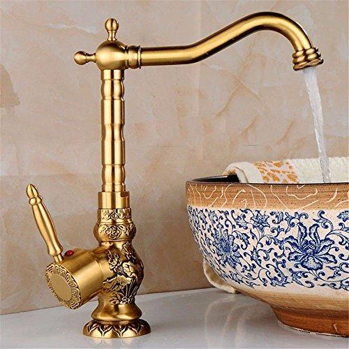 Grifo de latón macizo y válvula de cerámica Watertower, grifo monomando de cascada para lavabo, grifo de lavabo de bronce antiguo, lavabo mezclado con un solo agujero, mesa caliente y fría arriba y abajo