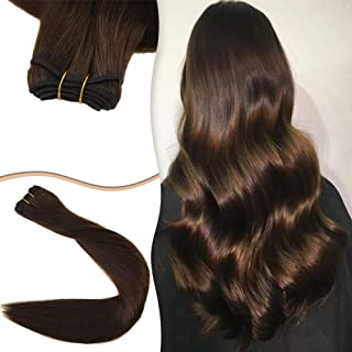 Easyouth 22Inch Remy Sew in Hair Extensions Middle Brown Color Human Hair Extensions Bundles Brown Extensions Natural Weft 100% Human Hair Weft