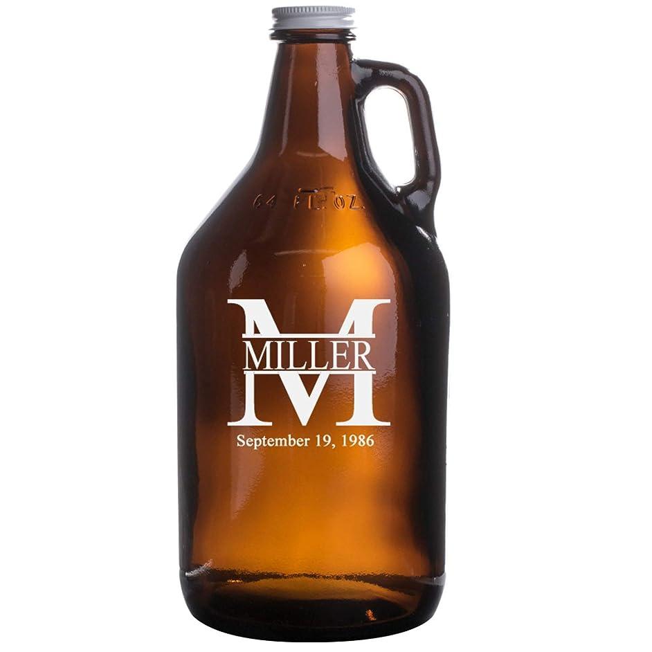 Personalized Etched 64oz Amber Beer Growler – Miller Design