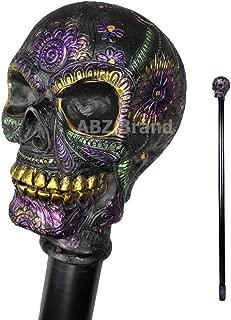 ABZ Brand he Day of Dead Día de Muertos Colorful Sugar Skull Head Decorative Walking Cane 36