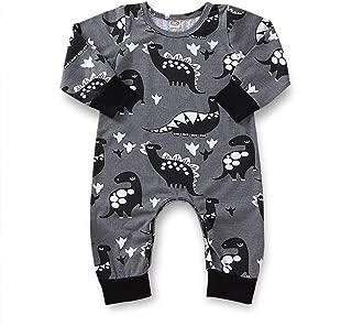 Infant Dinosaur Onesies Toddler Baby Boys Girls Dino Printed Long Sleeves Bodysuit Jumper Snap Buttons