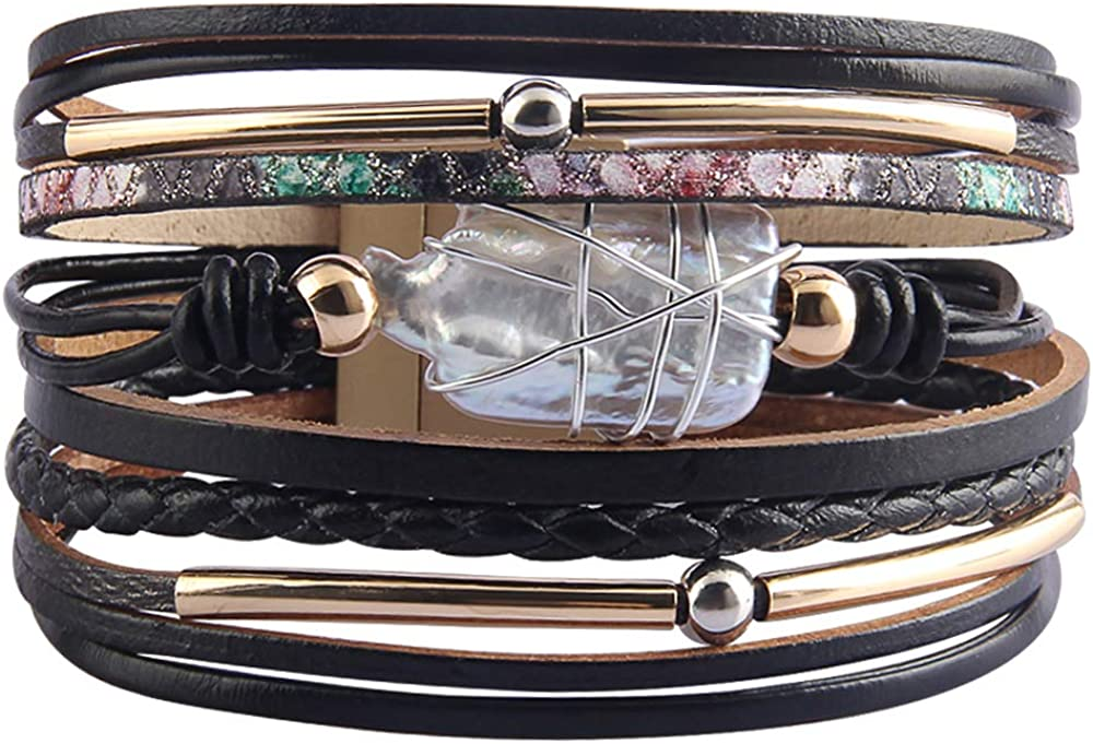 HOEACXY Womens Leather Wrap Bracelet Baroque Pearl Cuff Bracelets Multi Strand Gold Tube Bangle Wristbands Bohemian Bracelet Gift for Women Teen Girls Wife