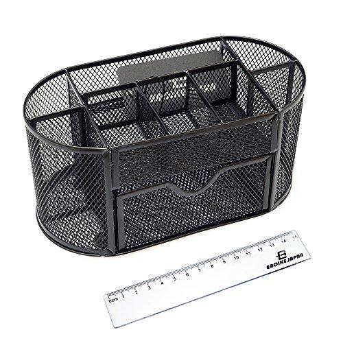 Eaoike 卓上ペンスタンド収納ケース おしゃれなスチールメッシュ製 15cm定規付