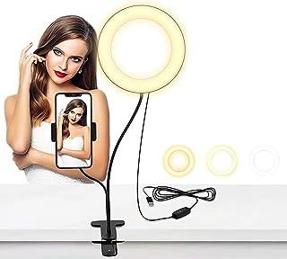 Licbox クリップライト 6インチリングライト 電気スタンド クリップ式 ビデオ通話用 自撮りスタンド 補光 自撮りLEDライト 10階段調光 3段階調色 美白効果 スマホスタント付き 360度回転可能 おしゃれ