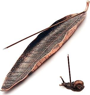 Incense Holder Set - Leaf and Snail Incense Burner,Incense Holders for Sticks Ash Catcher,Durable Zinc Alloy Materia,Modern Natural Design,Incense Ash Catcher Tray,Best for Meditation,Yoga,Home,Office