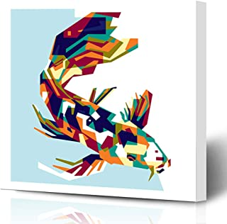 Ahawoso Canvas Prints Wall Art Printing 12x16 Gray Abstract Colorfully Koi Fish Animals Wildlife Architecture Composition Cool Creative Graphics Painting Artwork Home Living Room Office Bedroom Dorm