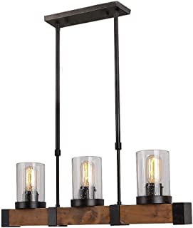 Anmytek C0001 Metal Wood Chandelier Pendant Retro Rustic Loft Antique Lamp Edison Vintage Pipe Sconce Decorative Fixtures and Ceiling Luminaire (Three, Seeded Glass Shade 3 Lights