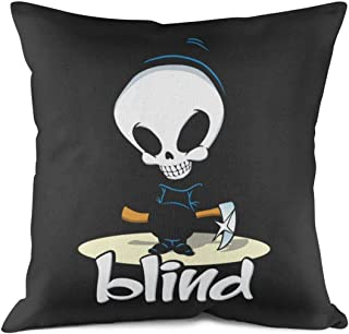 ERTMU Modern Quality Durable Blind-Skateboards-Skull-Death-Scythe- Style Microfiber Decorative Double Side Throw Pillow Case Cushion Cover for Bed Pillow Covers 18 X 18