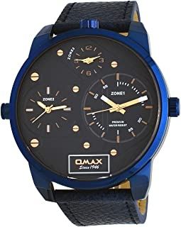 TT01S441 Men's Blue IP XL Big Size 3 Time Zone Blue Leather Band Blue Dial Watch