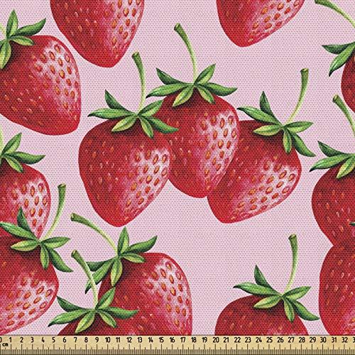 ABAKUHAUS Rojo Tela por Metro, Jugosas Fresas Fruta, Decorativa para Tapicería y Textiles del Hogar, 1M (148x100cm), Verde Rosa Rojo