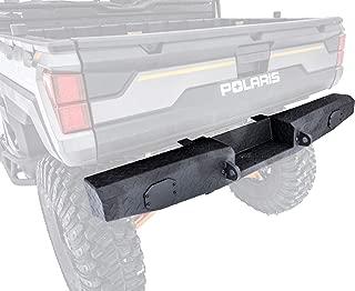 SuperATV Heavy Duty Rear Bumper for Full Size Polaris Ranger XP 1000 / Diesel 1000 / Crew (See Fitment) - Wrinkle Black - Winch Ready!