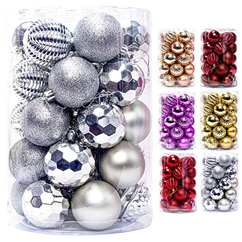 JEKOSEN 2020 New 34PCS Christmas Ball Ornaments for Xmas Tree Decor 2.36' Shatterproof Christmas Tree Decorations with Hanging Rope Sliver