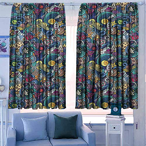 Lovii Decor Waterdichte Venster Gordijn Verduisterend en Thermische Isolerende Draperies Ruimte Abstract Cartoon Science Fiction Thema Afbeelding met Swirl Golven Asteroïden Telescoop Multi kleuren