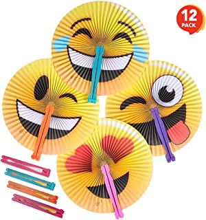 ArtCreativity Emoji Handheld Folding Fans for Kids, Pack of 12, Assorted Emoticons, 10 Inch Foldable Fans for Boys and Girls, Emoji Birthday Party Favors and Supplies, Cute Goodie Bag Fillers