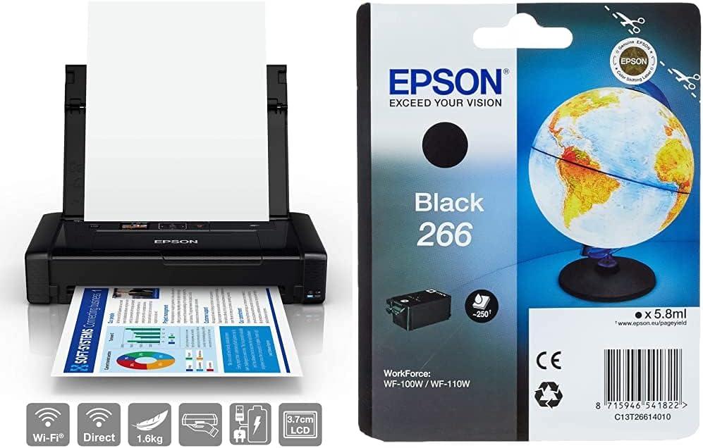 Epson Workforce WF-110W Impresora de inyección de Tinta portátil, Color Negro + C13T26614010 Cartucho de tóner Adecuado para WF100W, Color Negro válido para WF-100W