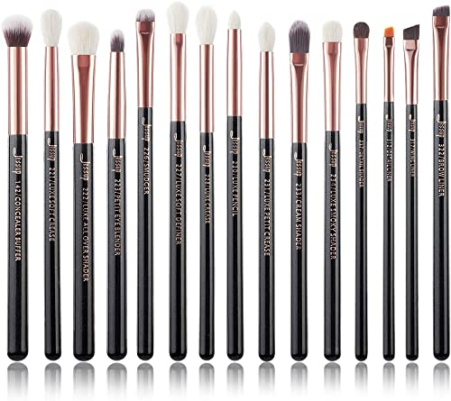 Jessup 15Pcs Professional Makeup Brushes Set Make up Brush Tools kit Eye Liner Shader Wood Handle Natural-synthetic H...