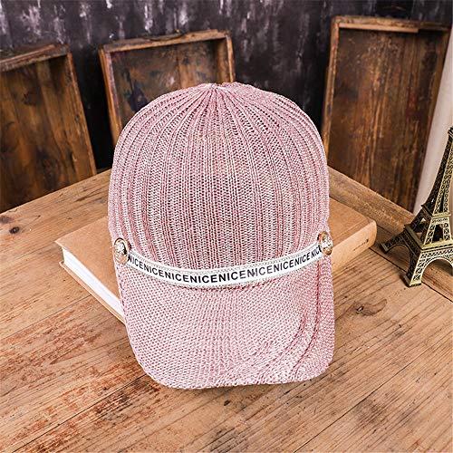 sdssup Sommermütze weibliche koreanische Version des Trends der Mode Strass Baseballmütze Wilde gestrickte atmungsaktive Mesh Sonnenschirm Hut weiblich 粉色 粉色 可