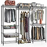 VIPEK 5-Tiers Wire Garment Rack Heavy Duty Clothes Rack Big Size Armoire Storage Rack with 4 hanging Rods, 7 Wire Shelves and 2 Slid Baskets, 85.8' W x 17.7' D x 70.9' H, Max Load 794 LBS, V10P Black
